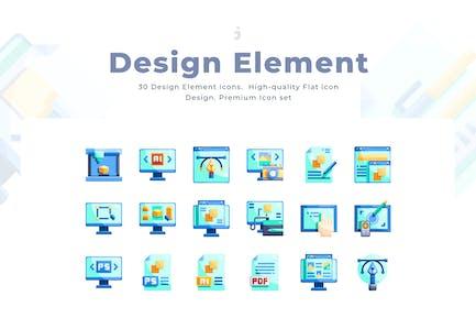 30 Design Element Icon set - Flat