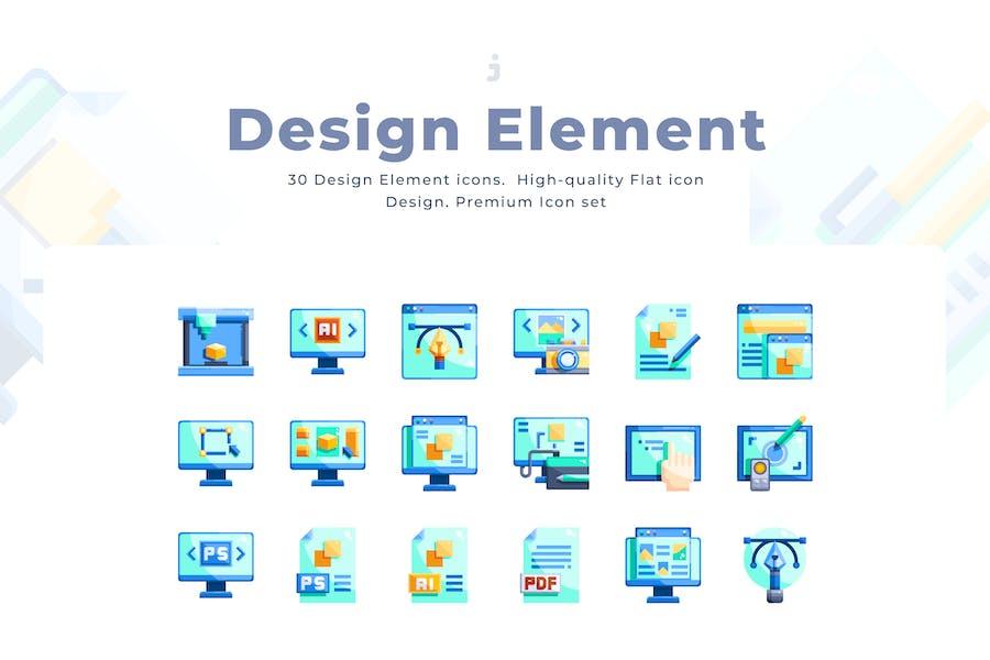 30 Design Element Icon Set - Flach