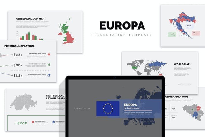 Thumbnail for Europa : Europe Region Vector Map Powerpoint
