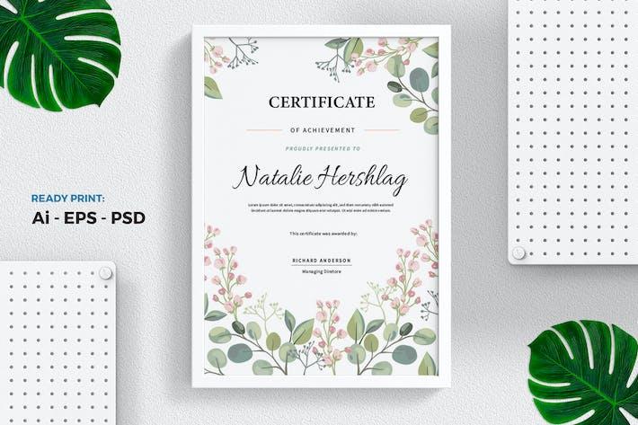 Thumbnail for Blume Aquarell Zertifikat/Diplom Vorlage