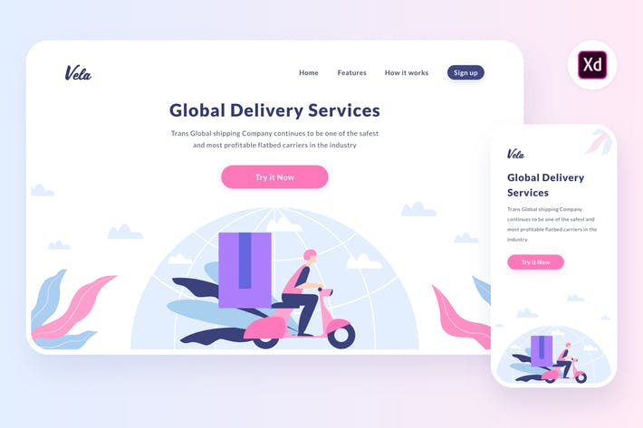 Thumbnail for Shipment globe illustration (Adobe XD, SVG)