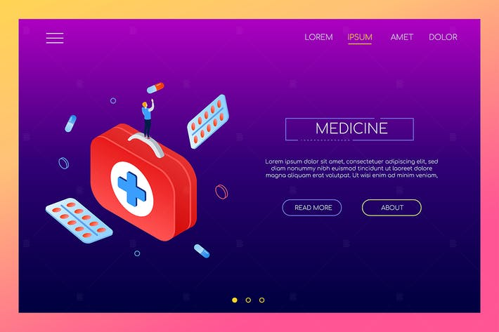Thumbnail for Medicine and healthcare - isometric banner