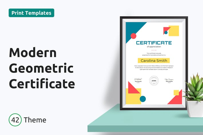 Thumbnail for Modern Geometric Certificate/Diploma Template