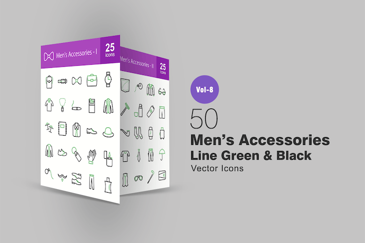 Thumbnail for 50 Men's Accessories Green & Black Line Icons