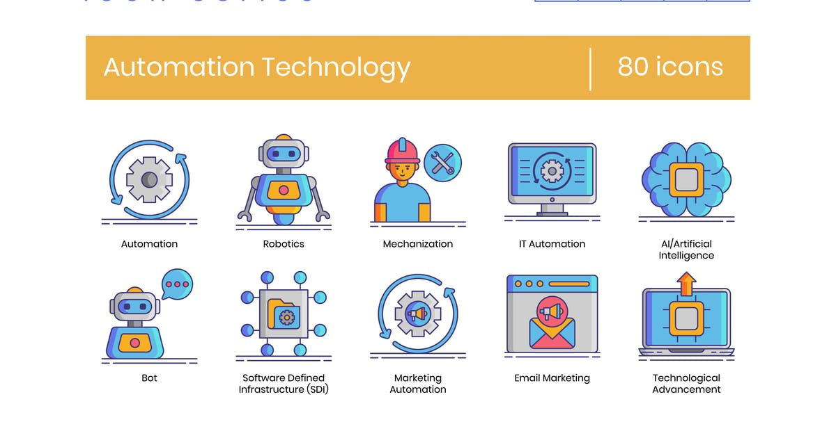 Download 80 Automation Technology Icons - Dazzle Series by Krafted