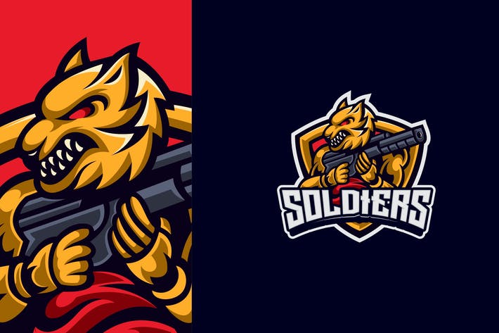 Thumbnail for Wolf Gun Mascot Esport Logo Template