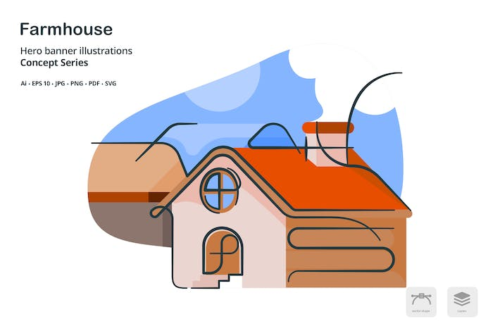 Thumbnail for Farm House Real Estate Vector Illustration