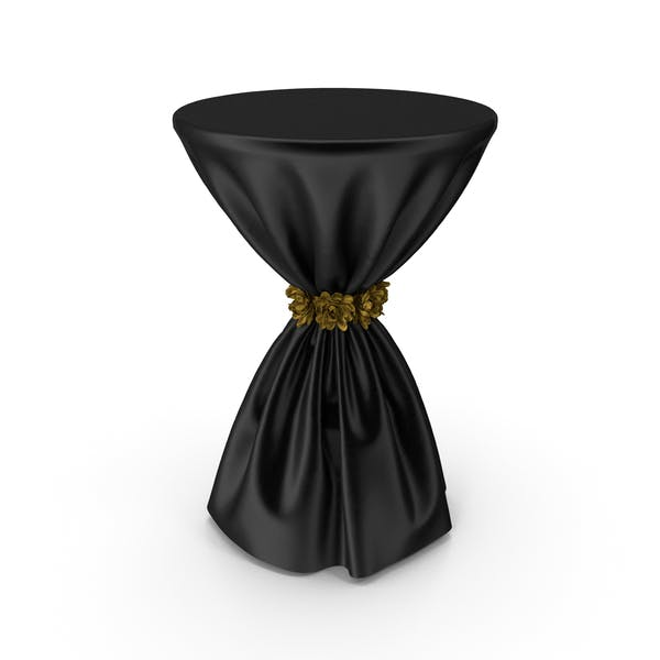Black Silk Tablecloth Cocktail Table with Gold Flowers