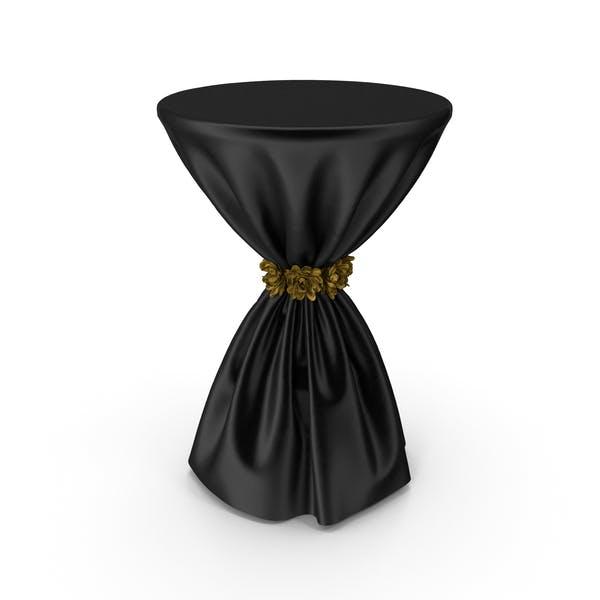 Черная шелковая скатерть Коктейльный стол с золотыми цветами