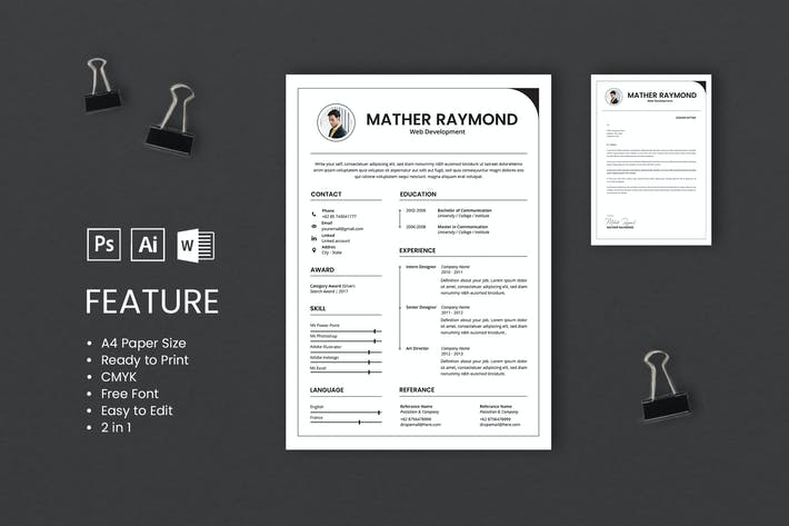 Thumbnail for Professional CV And Resume Template Raymond