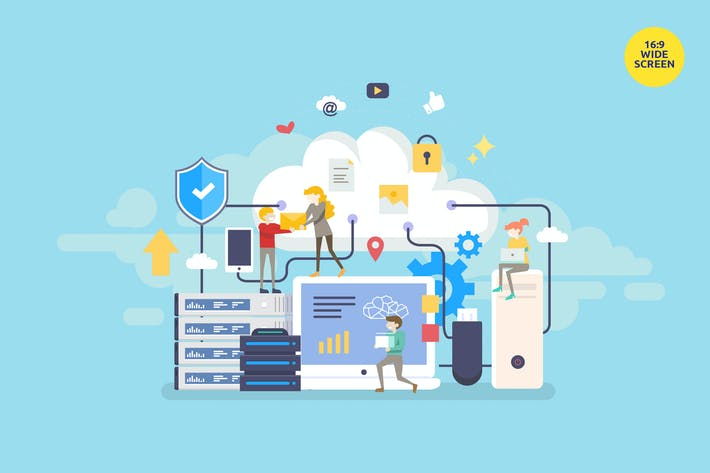 Cover Image For Cloud Computing Vector Concept Illustration