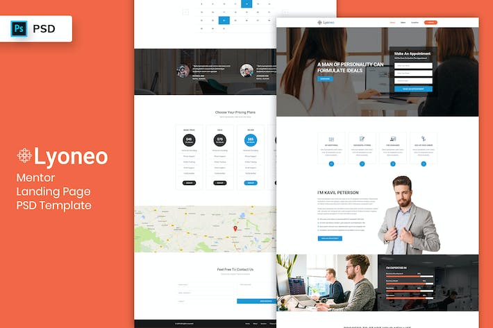 Cover Image For Mentor - Landing Page PSD Template