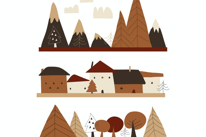 Thumbnail for Cartoon autumn landscape with houses,mountains and