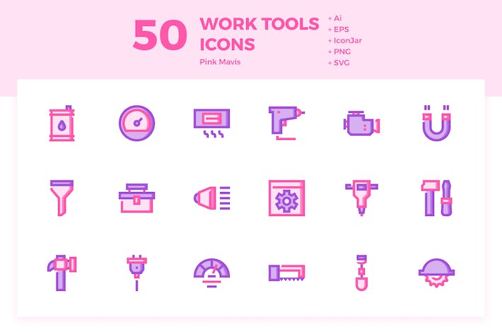 Thumbnail for 50 Work Tools Icons (Pink Mavis)
