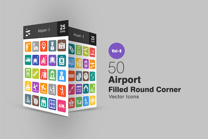 Thumbnail for 50 Airport Filled Round Corner Icons