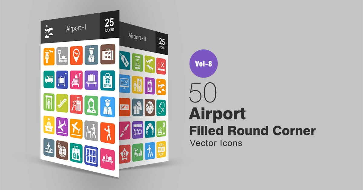 50 Airport Filled Round Corner Icons by IconBunny