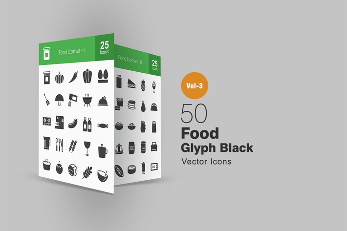 Thumbnail for 50 Food Glyph Icons
