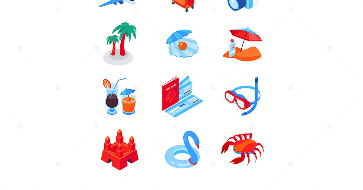 Download Beach vacation and traveling - isometric icons by BoykoPictures