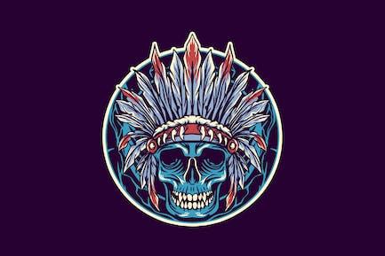 skull of native american head illustration