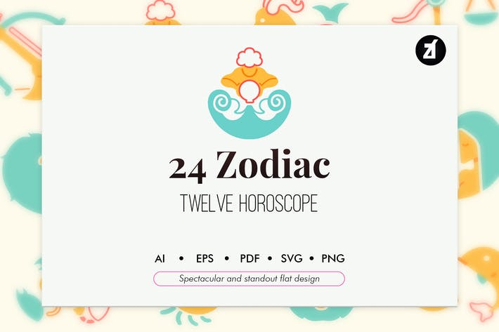 Thumbnail for 24 Zodiac elements in flat design