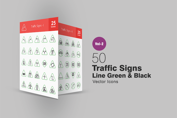 50 Traffic Signs Line Green & Black Icons