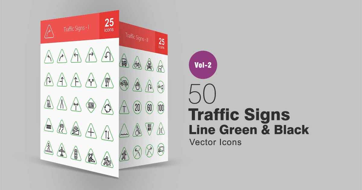 Download 50 Traffic Signs Line Green & Black Icons by IconBunny