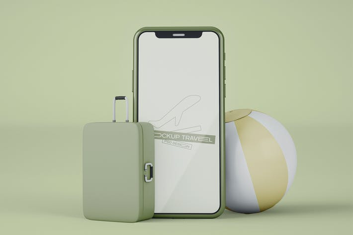 Smartphone with Travel Items Mockup