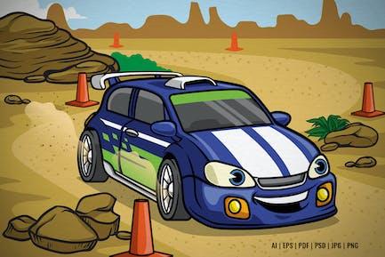 Cartoon Rally Car Drive on the Desert