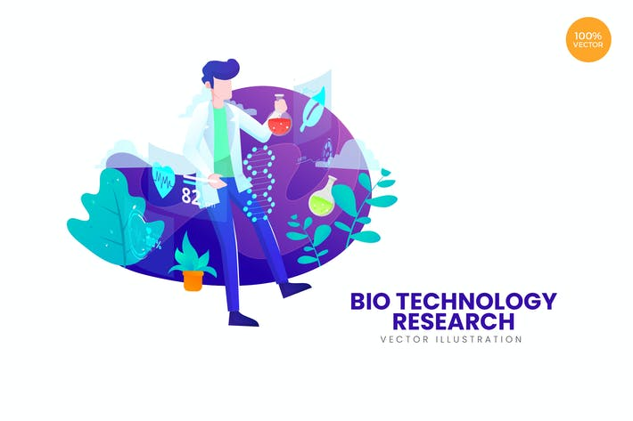 Thumbnail for Bio Technology Research Vector Illustration