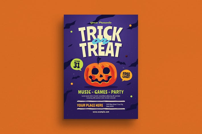 Thumbnail for Halloween Trick or Treat Event Flyer