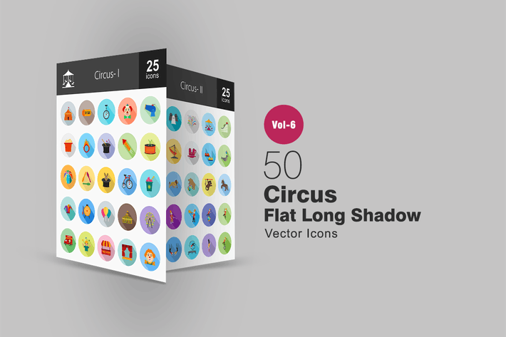 Thumbnail for 50 Circus Flat Shadowed Icons