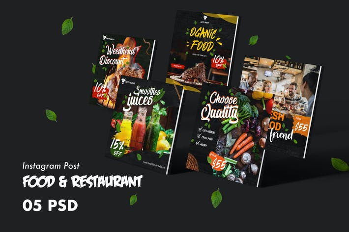 Thumbnail for Food & Restaurants Instagram Post PSD Template