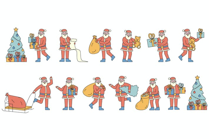 Thumbnail for Santa Claus Lineart People Character Collection