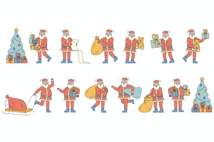 Thumbnail for Санта-Клаус Линейарт Людей Коллекция Персонаж