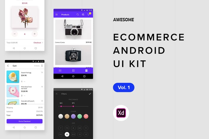 Thumbnail for Android UI Kit - Ecommerce Vol. 1 (Adobe XD)