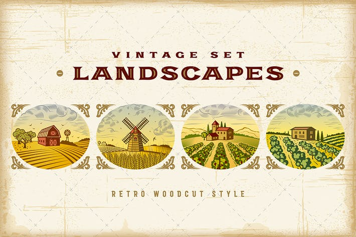 Thumbnail for Vintage Colorful Landscapes Set