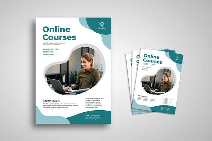 Cover Image For Online Courses Flyer Promo Template
