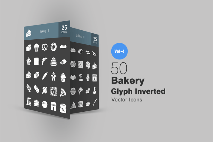 Thumbnail for 50 Bakery Glyph Inverted Icons