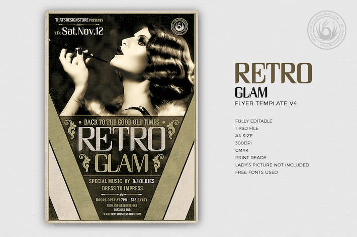Thumbnail for Retro Glam Flyer Vorlage V4