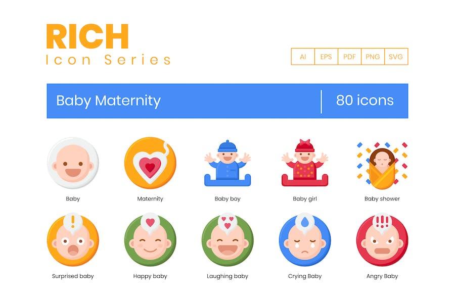 80 Íconos de maternidad bebé - Serie rica