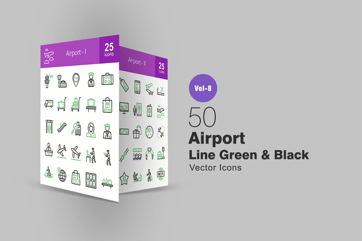 Thumbnail for 50 Airport Green & Black Line Icons