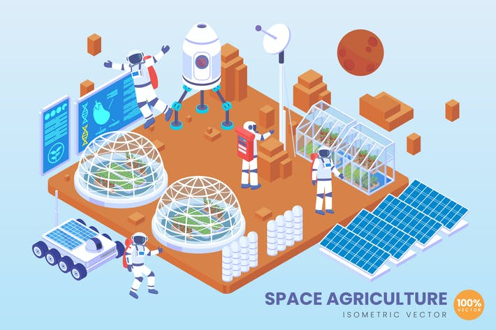 Thumbnail for Isometric Space Agriculture Technology Vektor