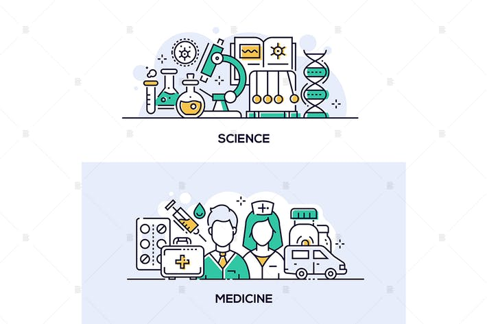 Thumbnail for Modern science and medicine banners set