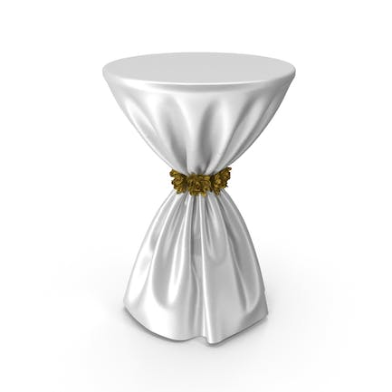White Silk Tablecloth Cocktail Table with Gold Flowers