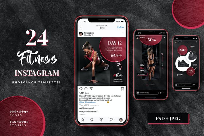 Thumbnail for Fitness & Gym Instagram Stories + Posts