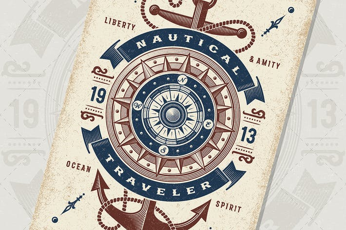 Vintage Nautical Traveler Typography