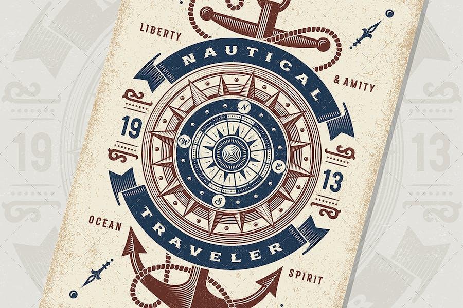 Vintage Nautical Traveler Typography