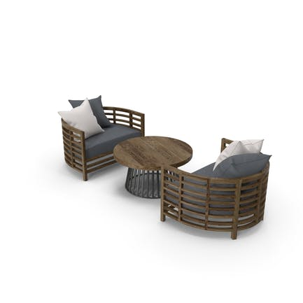 Outdoor Armchairs with Table