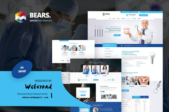 Thumbnail for Bear's - Medical Dentist PSD Template