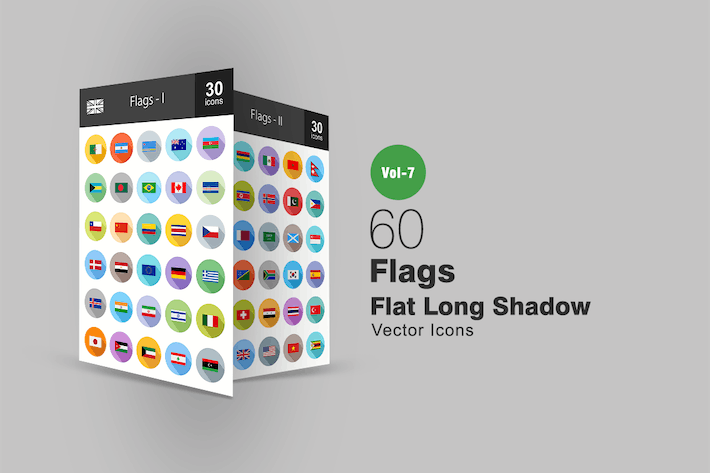 Thumbnail for 60 Flags Flat Shadowed Icons